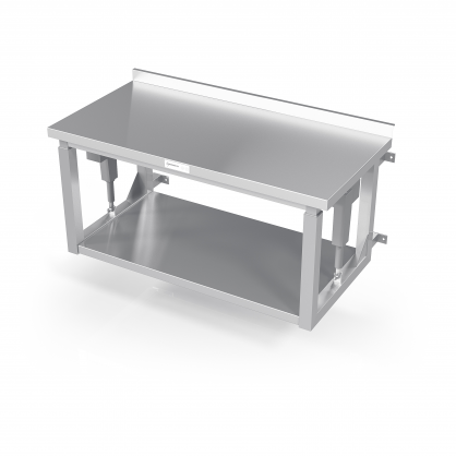 Reguliuojamo aukščio pakabinamas stalas su lentyna