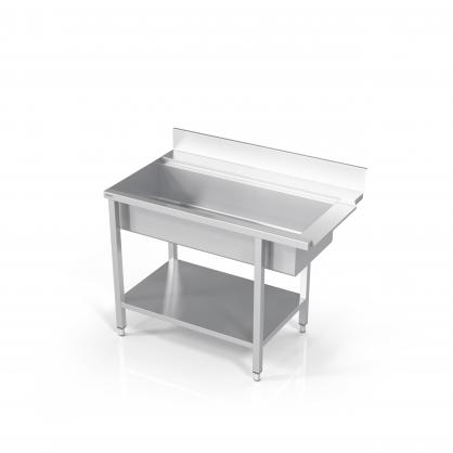 Stalas prie indaplovės su didele plautuve ir lentyna