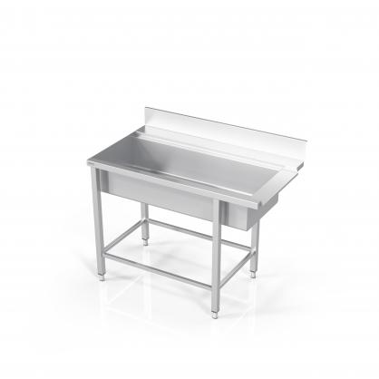 Stalas prie indaplovės su didele plautuve ir rėmu modulinėm lentynom