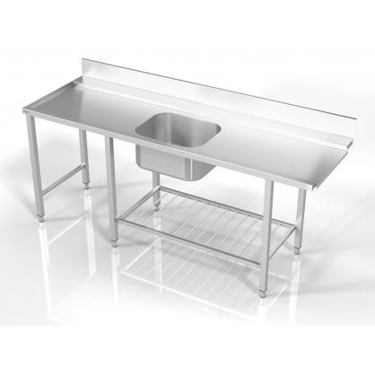 Stalas prie indaplovės su lentyna iš strypų ir šešiomis kojomis