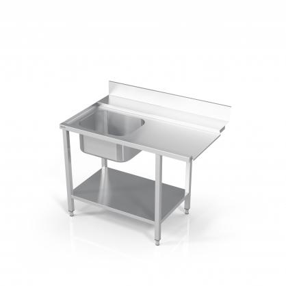 Stalas prie indaplovės su lentyna ir plautuve