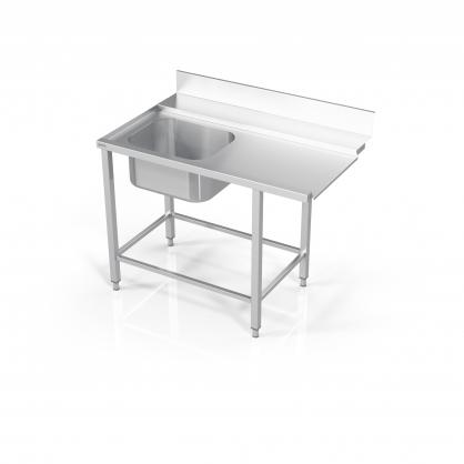 Stalas prie indaplovės su rėmu modulinėm lentynom ir plautuve