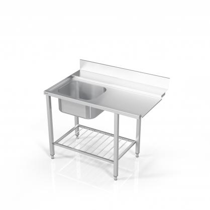 Stalas prie indaplovės su lentyna iš strypų ir plautuve