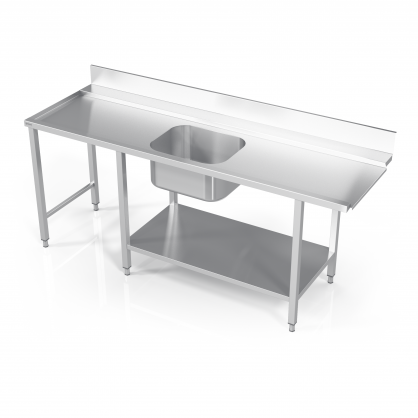 Stalas prie indaplovės su lentyna, šešiomis kojomis ir plautuve