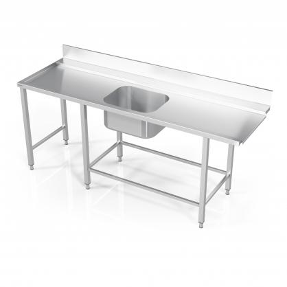 Stalas prie indaplovės su rėmu modulinėm lentynom, šešiomis kojomis ir plautuve