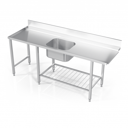 Stalas prie indaplovės su lentyna iš strypų, šešiomis kojomis ir plautuve