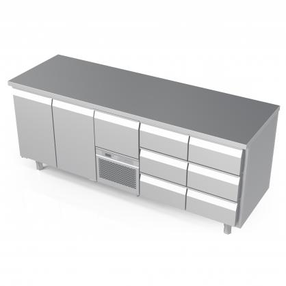 Šaldomas stalas 7 stalčių ir 2 durų, -5 ... +8 °C