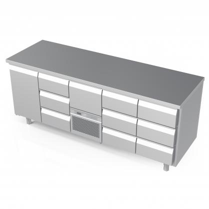 Šaldomas stalas 10 stalčių ir 1 durų