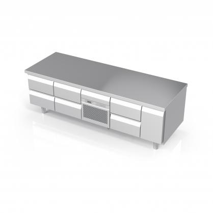 Žemas šaldomas stalas su neutraliu stalčiumi