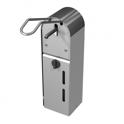 Nerūdijančio plieno muilo dispenseris valdomas alkūne