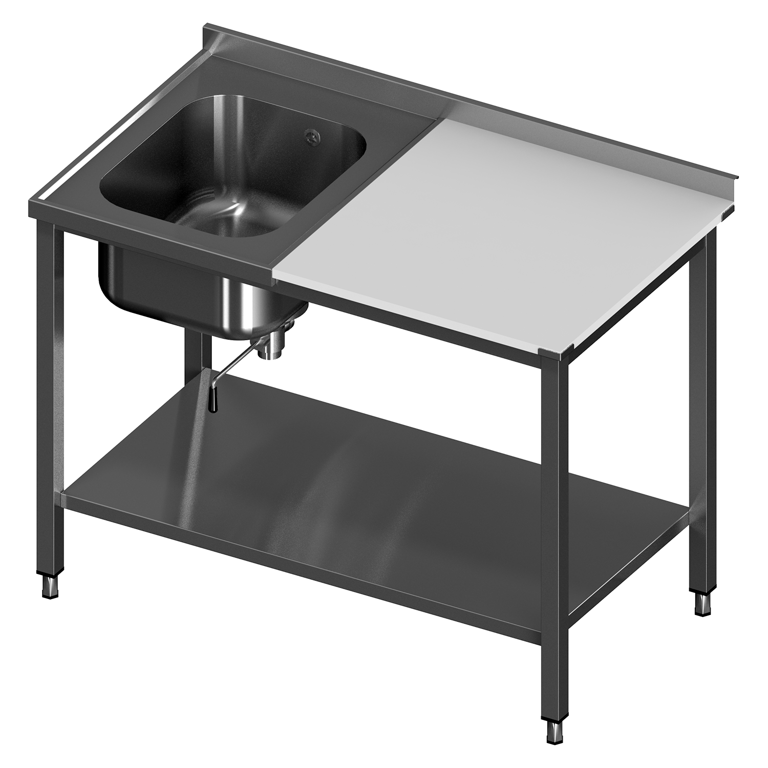 TABLE TO DISHWASHER WITH BIG SINK AND FRAME FOR MODULAR SHELVES